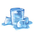 a glass of water with ice cubes isolated on white vector image