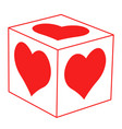 abstract heart cube vector image vector image
