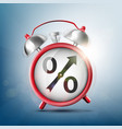 alarm clock with percent sign vector image vector image