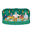arabian family sitting at table celebrate holiday vector image