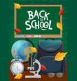 back to school student bag microscope chalkboard