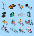 bicycle isometric icon set vector image