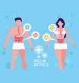 body of man and woman with probiotics organisms vector image