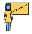 businesswoman presentation board financial arrow vector image