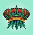cannabis crown logo hemp mascot vector image vector image