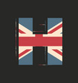 capital 3d letter h with uk flag texture isolated vector image