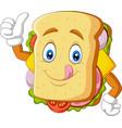 cartoon sandwich giving thumbs up vector image vector image
