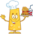 Chef Cheese Cartoon Character Serving Food vector image vector image