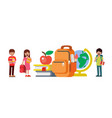 children stand next to school items back vector image