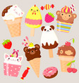 collection animal shaped ice cream vector image vector image