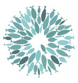 colored silhouettes school of fish a group of vector image vector image