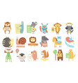colorful set of different animals with stickers vector image