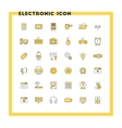 Computer and electronic flat design icon set vector image