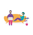 couple sitting on sofa with laptop and smartphone vector image