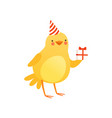 cute baby chicken in party hat holding gift box vector image vector image