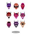 demon monsters and evils halloween masks set vector image