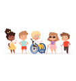 disability kids children in wheelchair unhealthy vector image vector image