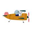 elephant pilot flying on retro plane in sky vector image vector image