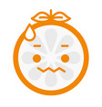 emoji - worry orange with drop of sweat isolated vector image vector image