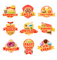 fast food labels of burgers drinks and dessert vector image vector image