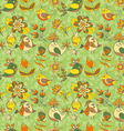 flowers and birds seamless texture pattern vector image vector image