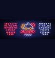 food delivery neon sign logo in neon style light vector image vector image