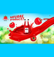glass bottle with tomato ketchup in tomato juice vector image vector image