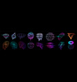 glitch universal trendy shapes collection vector image