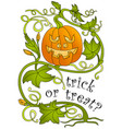 halloween pumpkin and greeting inscription vector image