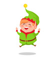happy elf jumping high cartoon vector image