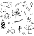 Holiday beach set of doodle vector image vector image
