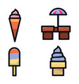 ice cream icon set with various types and colors vector image vector image