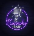 karaoke neon sign neon sign karaoke logo emblem vector image