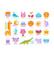 large set bright colorful logos for children vector image