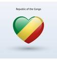 Love Republic of Congo symbol Heart flag icon vector image vector image