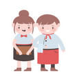 male and female waiter and waitress professional vector image