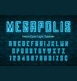 megapolis neon light alphabet realistic extra vector image vector image