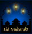 mosque and lanterns vector image vector image