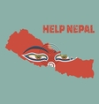 Nepal earthquakeNapal map with buddha eyes Help ne vector image vector image