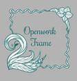 openwork frame with swan vector image vector image