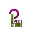 photo studio letter p icon vector image