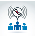 Podcast icon with a link symbol People chat on vector image vector image