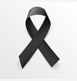 Realistic black awareness ribbon on white vector image