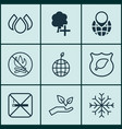 set of 9 eco icons includes pin earth fire vector image vector image