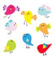 Set of cute cartoon birds vector image vector image
