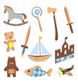 set of wooden kid toys collection ecological vector image vector image
