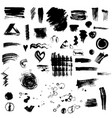 set or collection of black ink stains vector image vector image
