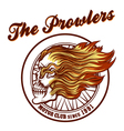 Skull in flames Biker club Emblem vector image vector image
