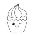 sweet cupcake pastry kawaii character vector image