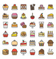 sweets and dessert icon set filled outline vector image vector image